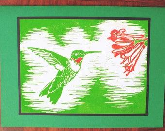 5 Handmade Hummingbird Cards (Red or Green)