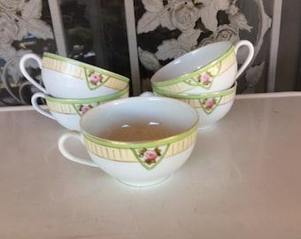 Lot of Five Vintage Tea Cups Noritake Dinnerware Made In Japan Pink Rose Green Chevron