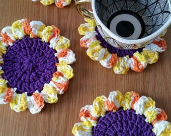 Sunflower Coaster Set / Flower Coasters / Sunflower Decor / Crochet Coasters / Flower Coaster Set / Sunflower Coasters / Set of 4
