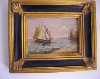 Maritime Oil Painting.  Old Oil Painting on Board.