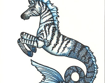 Mythical Zebra Hippocampus Seahorse - Art Print - Watercolor Painting