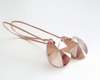 rose gold pear crystal teardrop earrings - blush pink - rose gold earrings