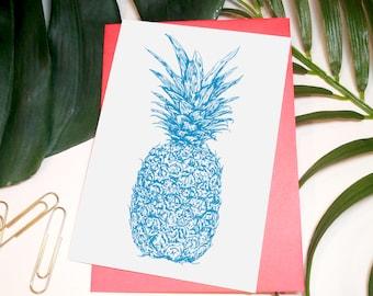 Tropicana Pineapple // Neon A6 Greeting Card