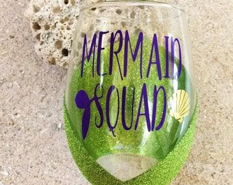 Mermaid Squad Wine Glass   Glitter Wine Glass