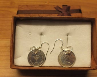 A 1/2 penny pair of very fine condition silver plated earings