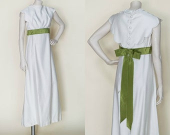1960s Wedding Dress --- Vintage Long Ecru Olive Dress
