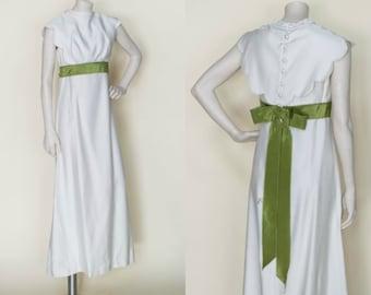 1960s Wedding Dress --- Vintage Long Ecru Olive Dress
