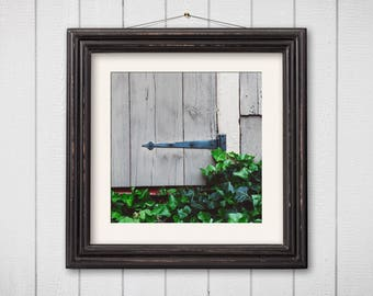 Architecture Photograph, Old House Print, Door Photography, Rustic Decor, Square Print, Barn Wood, Grey, Green, Abstract Photography, Art