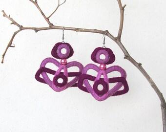 Crochet Jewelry Marsala gift Pink lilac Earrings Color block earrings Geometric earrings Art Crochet earrings Large Heart Earrings Boho chic