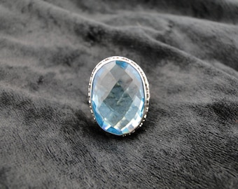 Large Swiss Blue Faceted Topaz Ring Sterling Silver