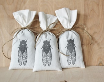 Cicada Lavender Sachet Bags, Natural Scent Drawer Freshener, Scented Drawer Sachets, Nature Home Decor