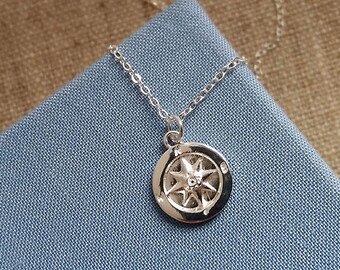 Sterling Silver Compass Necklace. Compass Pendant. Sterling Silver Necklace. Graduation Gift. Navigation. Graduation Jewellery