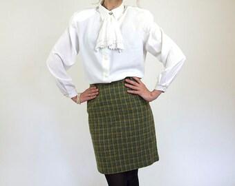 Green tweed skirt, vintage pencil skirt, soviet women skirt, secretary, medium, 36