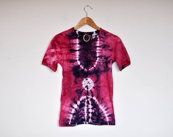 NOS Vintage Pink and Purple Tie Dye Batik T Shirt