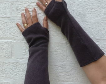 Woodland brown arm warmers cashmere fingerless gloves Eco-friendly gift for her boho accessories Winter cosplay large hands goth present.