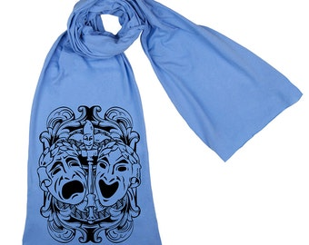 Comedy Tragedy Theatre Mask Screen printed Cotton Scarf