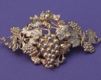KIRKS FOLLY Made In France Barrette with Grapes, Gold French Hair Clip with Grapes, Gold Kirks Folly Hair Clip with Grapes, Gold Barrette