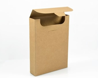 KRAFT PAPER BOX (Set of 5 Boxes) - 350gsm Kraft Flip Top Box (15.5cm x 10.8cm x 1.5cm)