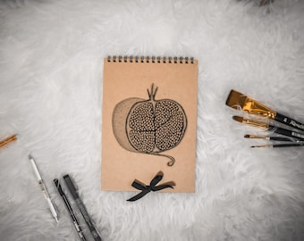Pomegranate hand drawn blank spiral sketchbook notebook for artists and designers made in Italy