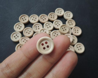 50Pcs  13mm Unfinished Natural  Wood button 4 holes No varnish  for your handmade ( W109)