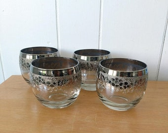 MEMORIAL DAY SALE 4 vintage fancy grape pattern ombre silver rim roly poly glasses