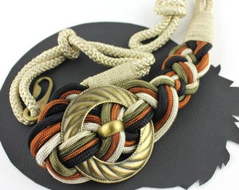 Cream Green Rust Black Knot Rope Belt with Brass Ring size M/L