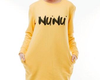 Pullover Long sweatshirt Sweatshirt dress Yellow sweatshirt Jumper dress Hoodie dress Sweater jumper Print sweatshirt Cotton jumper dress