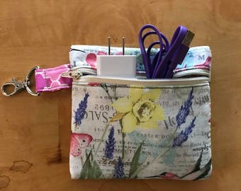 Small Square Fabric Pouch with Zipper and claw clasp