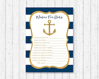 Nautical Anchor Wishes for Baby Cards / Nautical Baby Shower / Anchor Baby Shower / Navy & Gold / INSTANT DOWNLOAD A224