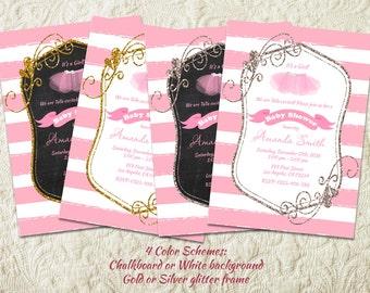 Ballerina Baby Shower Invitation, Tutu Baby Girl Shower Invitation, Pink And Gold Baby Shower Invitation, Tutu Cute Ballet Invitation