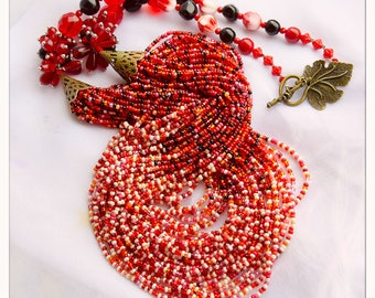Beaded necklace coral color Unique necklace / Beaded jewelry/  Multilayered Long Necklace
