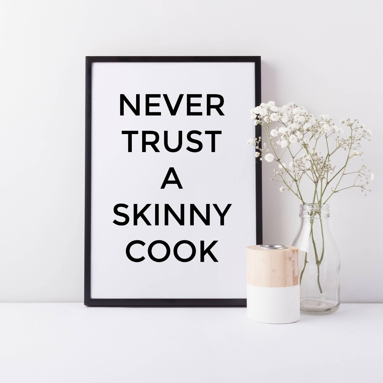 Gerahmte nie Vertrauen dünner Koch Wand Kunstdruck Gerahmten