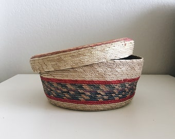 Vintage Colorful Mexican Storage Basket with Lid