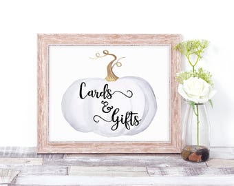 Cards & Gifts Sign - Wedding Cards and Gifts Sign - Winter Wedding Sign - Rustic Wedding Sign - Pumpkin Wedding Decor - Rustic Bridal Shower