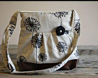 Small Messenger Bag, Large Dandelion Faux Leather Bag, Small Burlap Purse, Dandelion and Leather Bag,Casual Purse