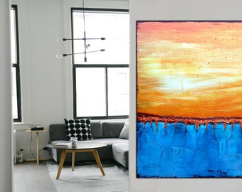 Orange Blue Abstract Painting on Canvas  , 32x24 Inch , Textured Painting , Wall Art ,Acrylic Abstract ,  !