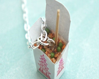 fried rice necklace- miniature food jewelry, food necklace, chinese food