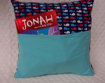 Whale Reading Book Pillow 14X14