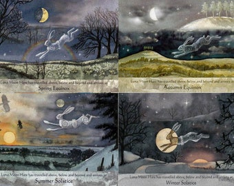 Summer Winter SOLSTICE Autumn Spring EQUINOX Festival Greeting CARDS Luna Hare Pagan Goddess Celtic Wendy Andrew