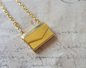 Letter Locket necklace ~ gold ~.