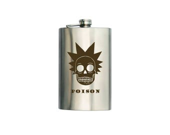"""Rick and Morty  inspired Flask """"Poison"""" CAN BE Personalized Custom Gift (6 oz, 7 oz, 8 oz, 9 oz, 10 oz)"""