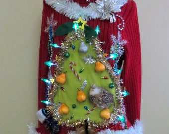 "Made to order  Hilarious Partridge in a ""Pear"" Tree Tacky Ugly Christmas Sweater Light UP  Womens Garland, Pears"