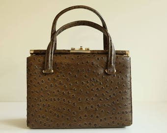 Faux ostrich leather bag ca 1960s