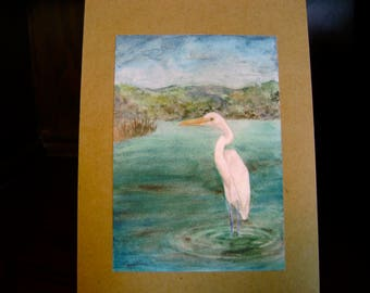 Wading Egret watercolor card -- sold in sets of 5 -- envelopes included