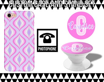 Girly Geometric Custom Case and Stand Set