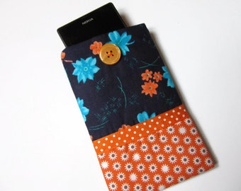 cover, wallet, phone case cell, blue, orange, flowers