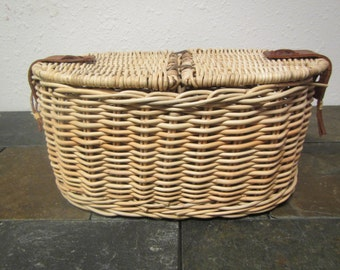 vintage WOVEN SEWING BASKET or Picnic Basket * 2 sides with leather straps