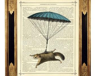 Flying Squirrel Art Print blue Parachute - Vintage Victorian Book Page Art Print Steampunk Nursery Wall Art Circus