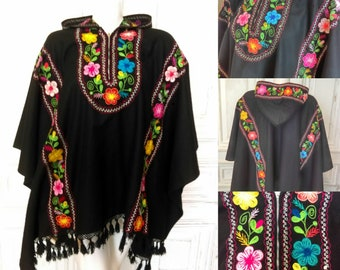 Original 1950's Mexican Felt Embroidery Poncho With Hood - Great Condition - Only 75 Pounds!