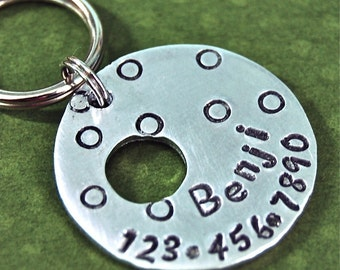 Custom pet id tag / Benji loves dots Aluminum  Front and Back can be stamped